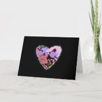 Pink Cherry Flowers Heart Valentine Love Romance cards
