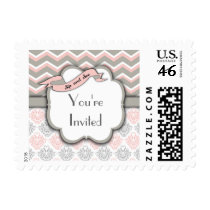 Pink Chevron Sip And See New Baby Girl Stamp