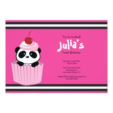 Pink Cupcake Panda Birthday Party Invitation