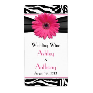 Pink Daisy Zebra Print Wedding Wine Bottle Labels