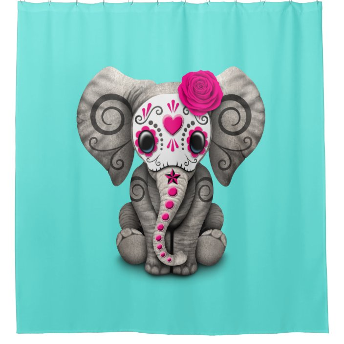 pink day of the dead elephant shower curtain zazzle com