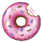 ❤️ Pink Donut Birthday Party Round Invitation