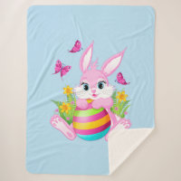 Pink Easter Bunny Large Sherpa Blanket