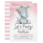 ❤️ Pink Elephant Girl Birthday Party Invitation