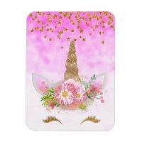 Pink Fantasy and Golden Stars Unicorn Magnet