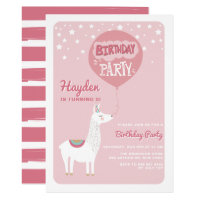 Pink Festive Alpaca Kids Birthday Party Invitation
