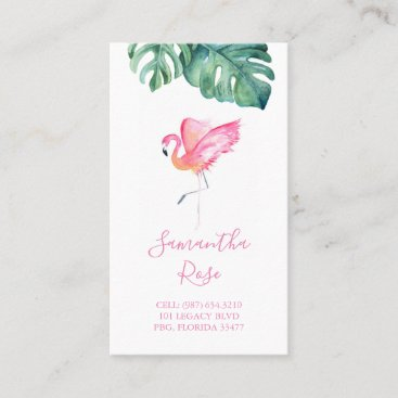Pink Flamingo Monstera Palm Leaves Business Card