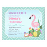 Pink Flamingo Summer Luau Birthday Party Invites