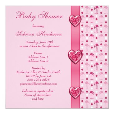 Pink Flamingos, Printed Bow & Heart Baby Shower Card