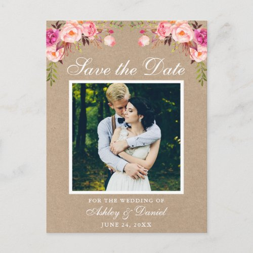 Pink Floral Save the Date Photo Kraft Announcement Postcard