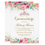 Pink Floral Tiara Quinceanera 15th Birthday Invite