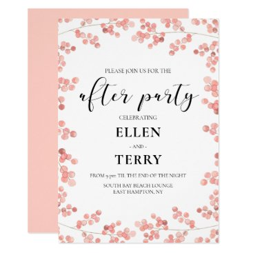 Pink floral watercolor wedding after party invitation