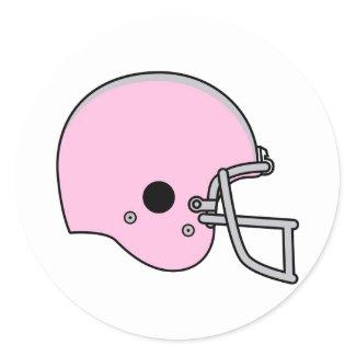 Pink Football Helmet Round Sticker