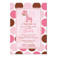 Pink Giraffe Baby Shower Invitation