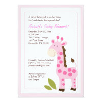 Pink Giraffe Jungle 5x7 Baby Shower Invitation