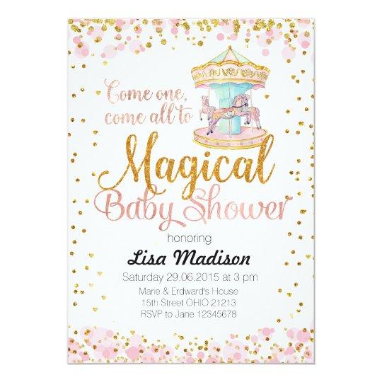Pink Glitter Horse Carousel Baby Shower Invitation