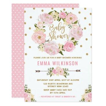 Pink & Gold Boho Floral Baby Shower Invitation