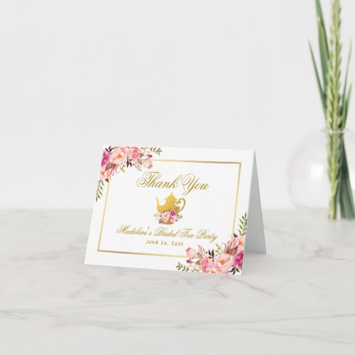 Pink Gold Floral Bridal Tea Party Thanks Note Thank You Card