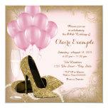 Pink Gold Glitter High Heels Birthday Invitations