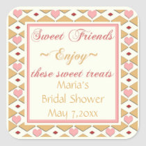 Pink Gold Hearts Diamonds Candy Buffet Stickers