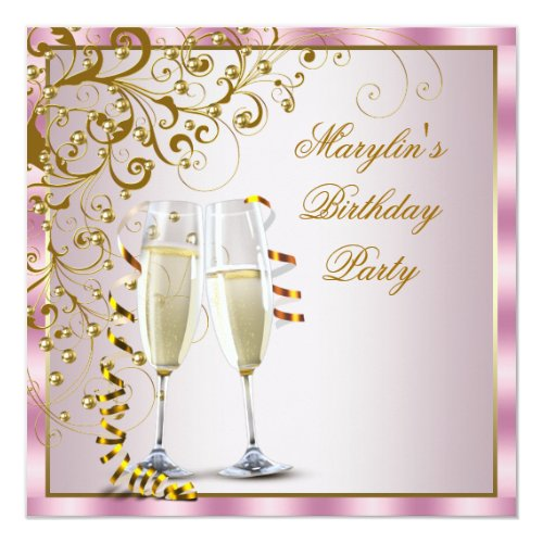 Pink Gold Pearls Pink Gold Womans Birthday Party Card