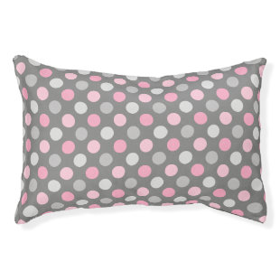 Pink Gray Polka Dots Small Dog Bed