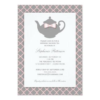 Pink Gray Quatrefoil Wedding Tea Invitation