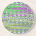 Pink Green Blue Yellow Zigzag Pattern Beverage Coasters