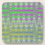 Pink Green Blue Yellow Zigzag Pattern Drink Coasters