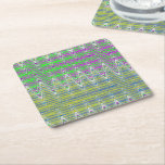 Pink Green Blue Yellow Zigzag Pattern Square Paper Coaster
