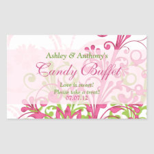 Pink Green White Abstract Floral Candy Buffet sticker