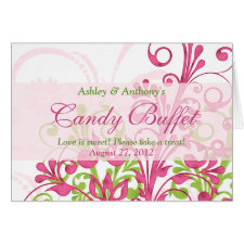 Pink Green White Floral Wedding Candy Buffet Sign card