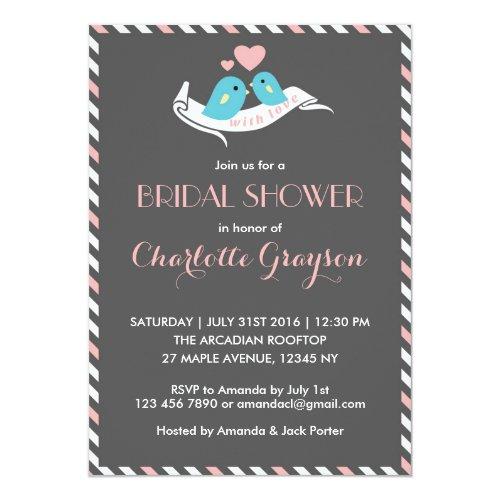 Pink Grey Love Birds Bridal Shower Invitation