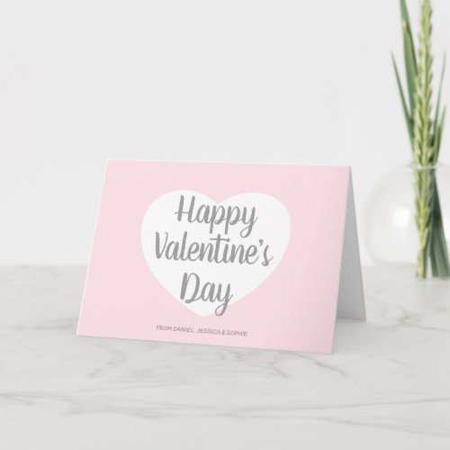 Pink Happy Valentine's Day Script Holiday Card