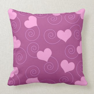 Pink hearts and swirls throwpillow
