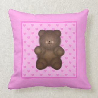 Pink Hearts and Teddy Bear Throw Pillow