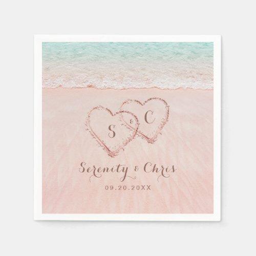 Pink hearts in the sand destination beach wedding napkin