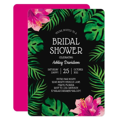 Pink Hibiscus and Tropical Leaves 2 Bridal Shower Invitation