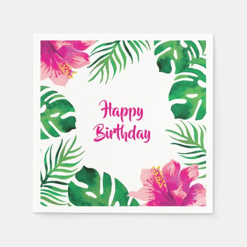Pink Hibiscus and Tropical Leaves 2 Party Napkin