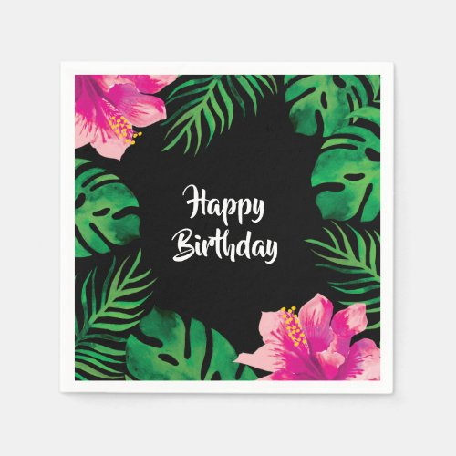Pink Hibiscus and Tropical Leaves Party Napkin