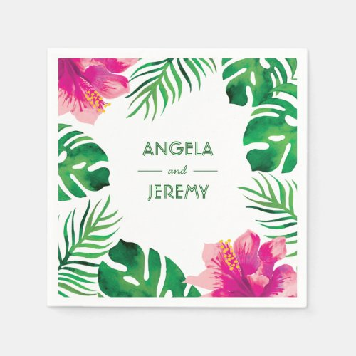 Pink Hibiscus and Tropical Leaves Wedding 2 Napkin