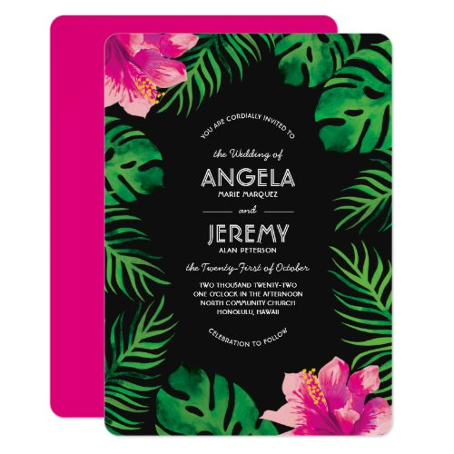 Pink Hibiscus and Tropical Leaves Wedding Invitation