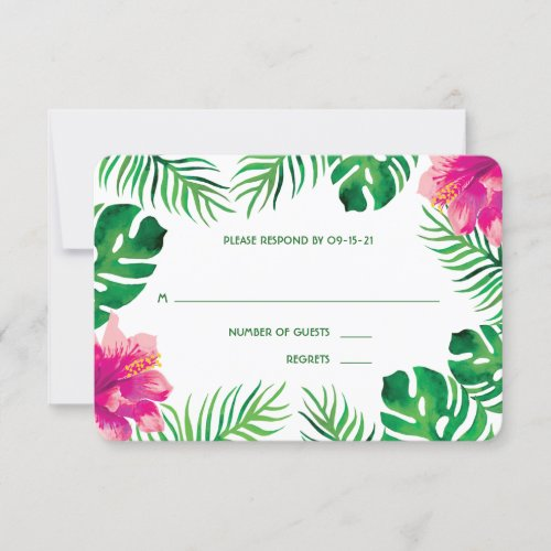 Pink Hibiscus and Tropical Leaves Wedding RSVP Card