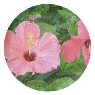 Pink Hibiscus Flowers Plate fuji_plate