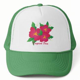 Pink hibiscus trucker hats