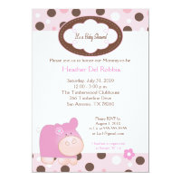 Pink Hippo Trendy Dot Baby Shower Invitation 5x7