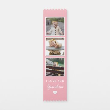 Pink I Love You Grandma Heart Photo Collage Award Ribbon
