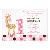 Pink Jungle Giraffe 1st Birthday Invitation 5x7