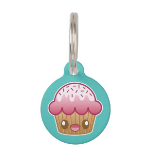 Pink Kawaii Cupcake With Custom Info Pet ID Tags