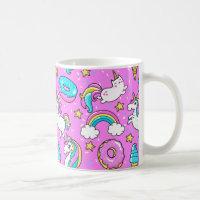 Pink Kitschy glittery funny unicorn and kitty Coffee Mug